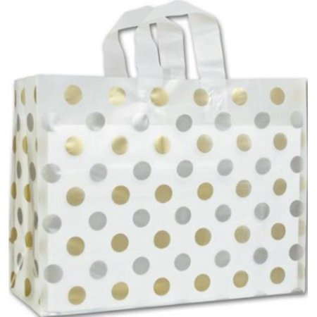 268 160612 157C Gold   Silver Dots Clear Frosted Flex Loop Shoppers