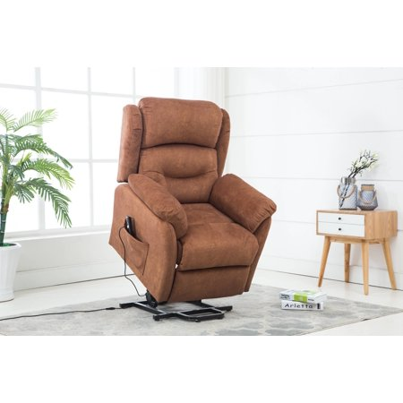 Gordon Motion Textured Velvet Fabric Remote Powered Lift Recliner Chair in Bronze