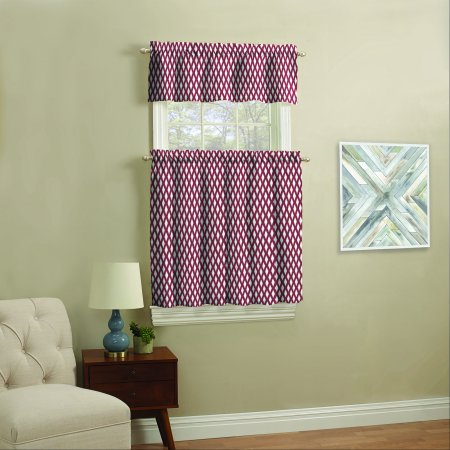 Mainstays Small Window Curtain Set, Navy Ikat, 3 (2wt 3 Piece)