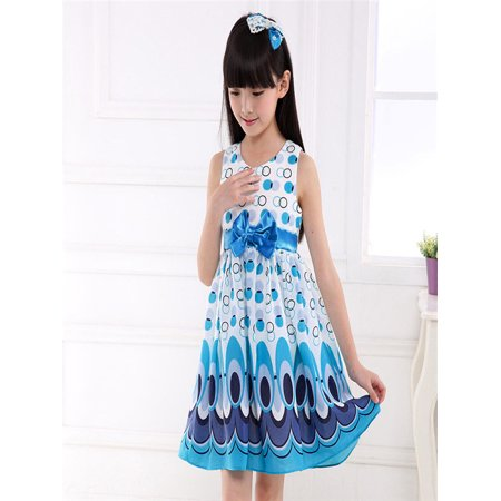 Kids Girls Bow Belt Sleeveless Bubble Peacock Dress Party Clothing Outfits (Peacock Outfit)