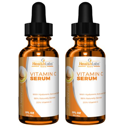 Health Labs Nutra Natural Vitamin C Serum with Hyaluronic Acid and Vitamin E, Best Anti-Aging Moisturizer Serum for Face, Neck, Decollete and Eye Treatment 2 fl. Oz. - Pack of