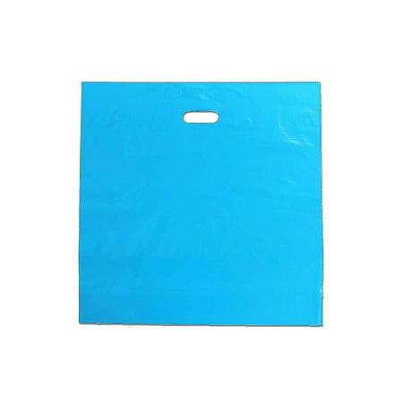 """20"""" x 20"""" -Teal Blue Plastic Merchandise Bags (50 Pack) w/Die Cut Handles"""