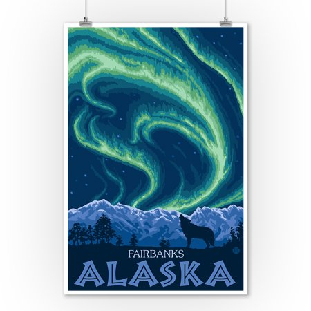Fairbanks, Alaska - Northern Lights - Lantern Press Artwork (9x12 Art Print, Wall Decor Travel Poster) ()