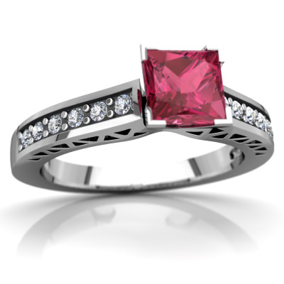 Pink Tourmaline Art Deco Ring in 14K White Gold by