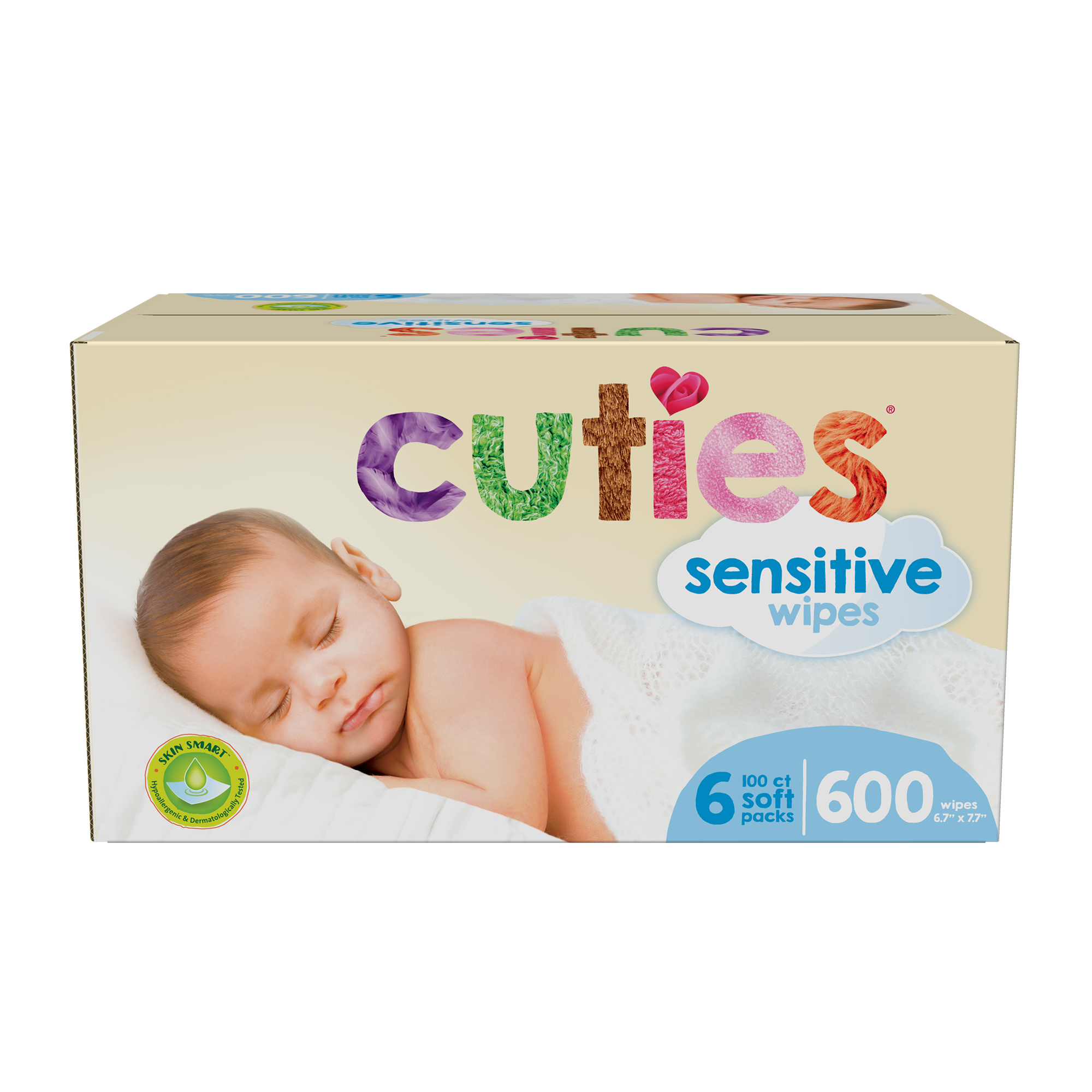 Cuties Complete Care Sensitive Baby Wipes, 600 Count