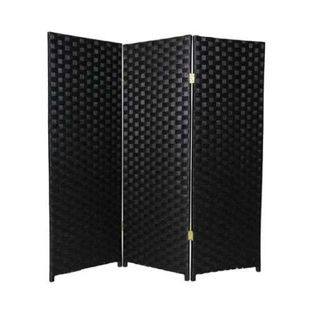 Double-Hinged 4 ft. Tall Woven Fiber Room Divider (6 Panels / White)