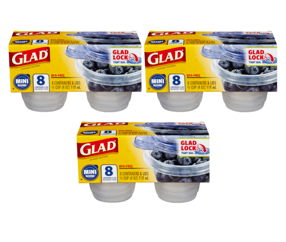 3 Pack Glad Food Storage Containers Mini Round