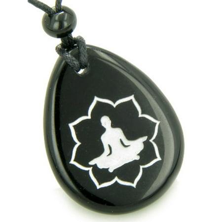Lucky Kwan Yin Quan Lotus Amulet Black Agate Wish Stone Pendant Necklace