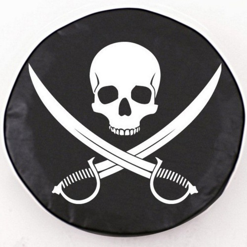Tire Cover by Holland Bar Stool - Jolly Roger Clean, Black - 28.5'' x 8''