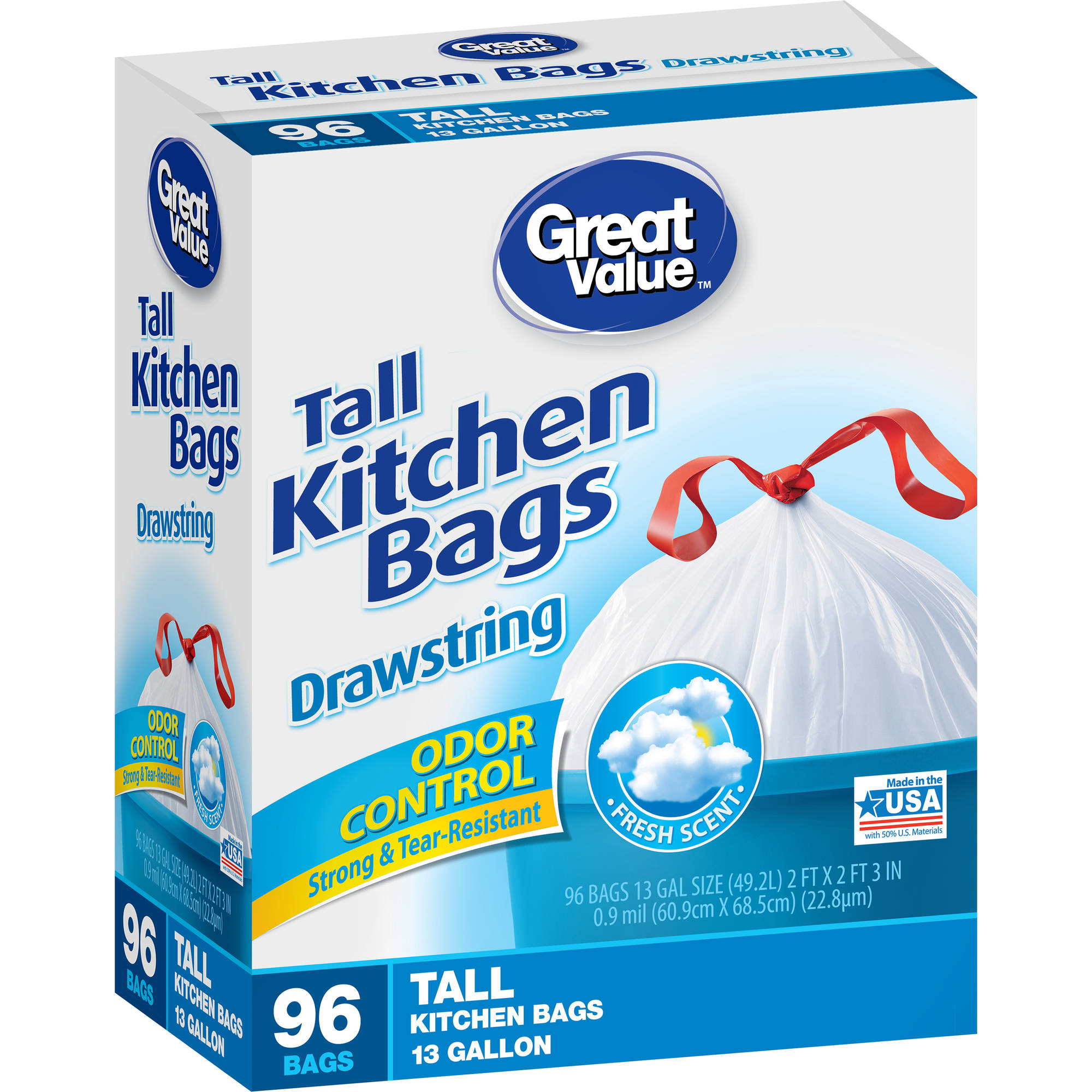 Great Value Drawstring Odor Control Fresh Scent Tall Kitchen Trash Bags, 13 gal, 96 count