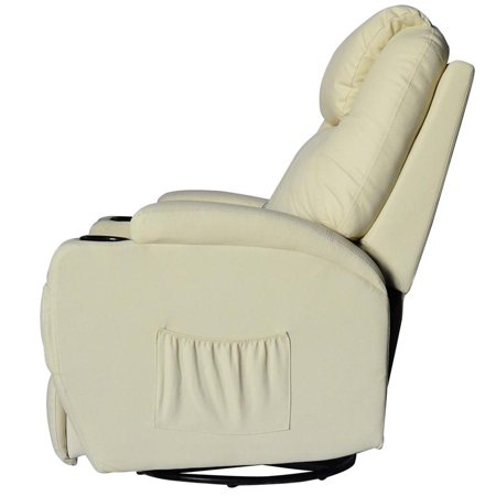 Massage Heated PU Leather 360 Degree Swivel Recliner Chair with Remote - Cream