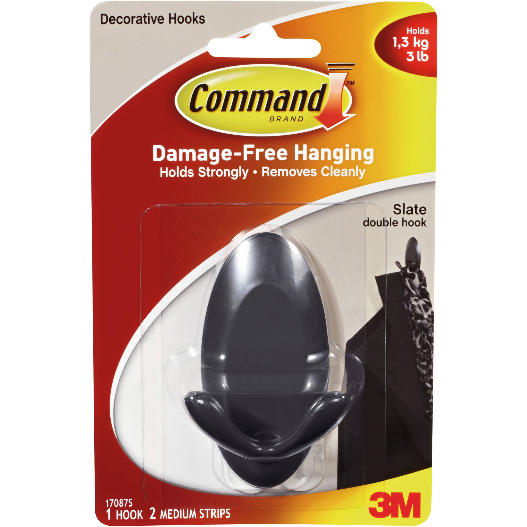 Command Slate Double Hook, 1 hook, 2 Strips, 17087S