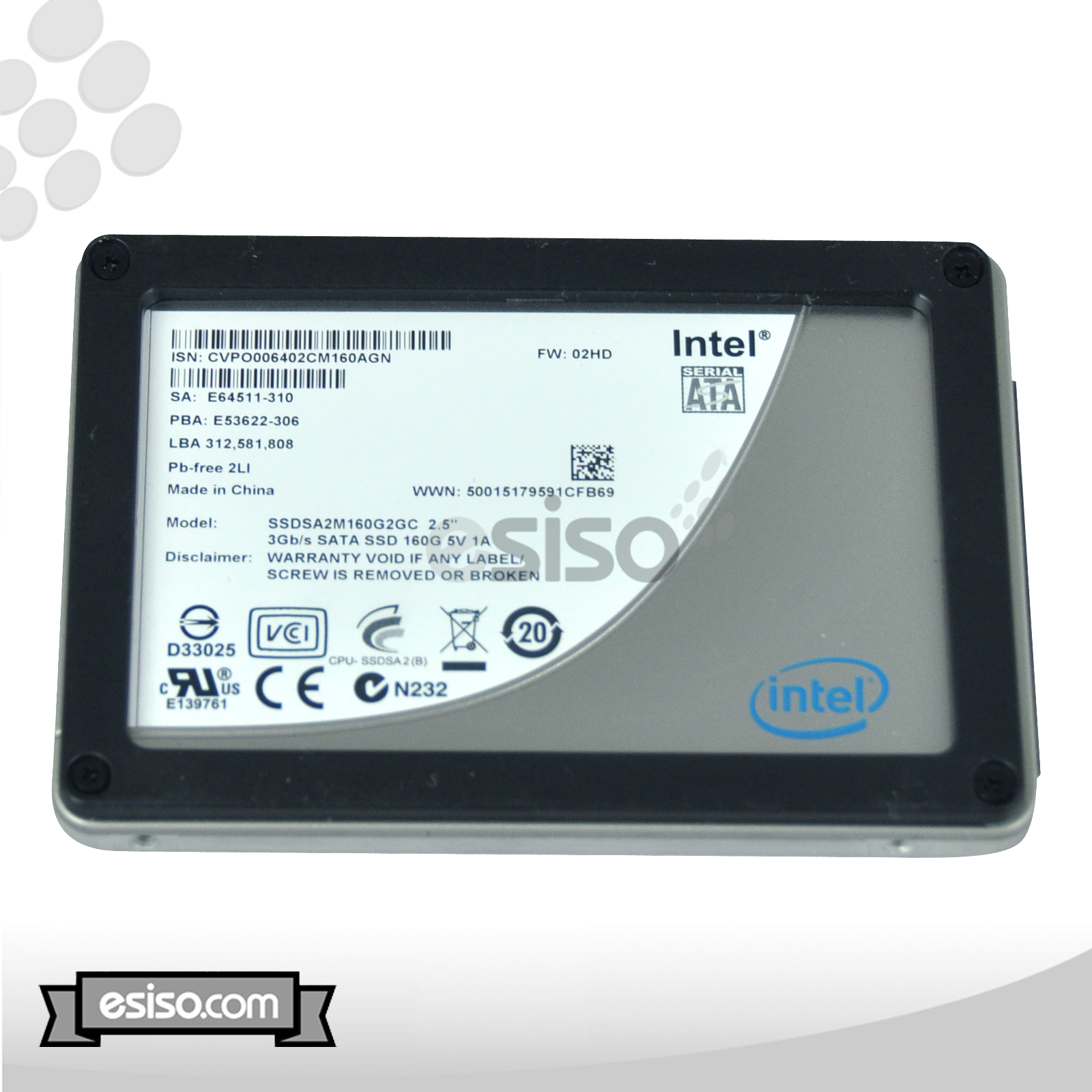 "USED SSDSA2M160G2GC INTEL 160GB 3Gb/s 2.5"" SATA SSD HARD ..."
