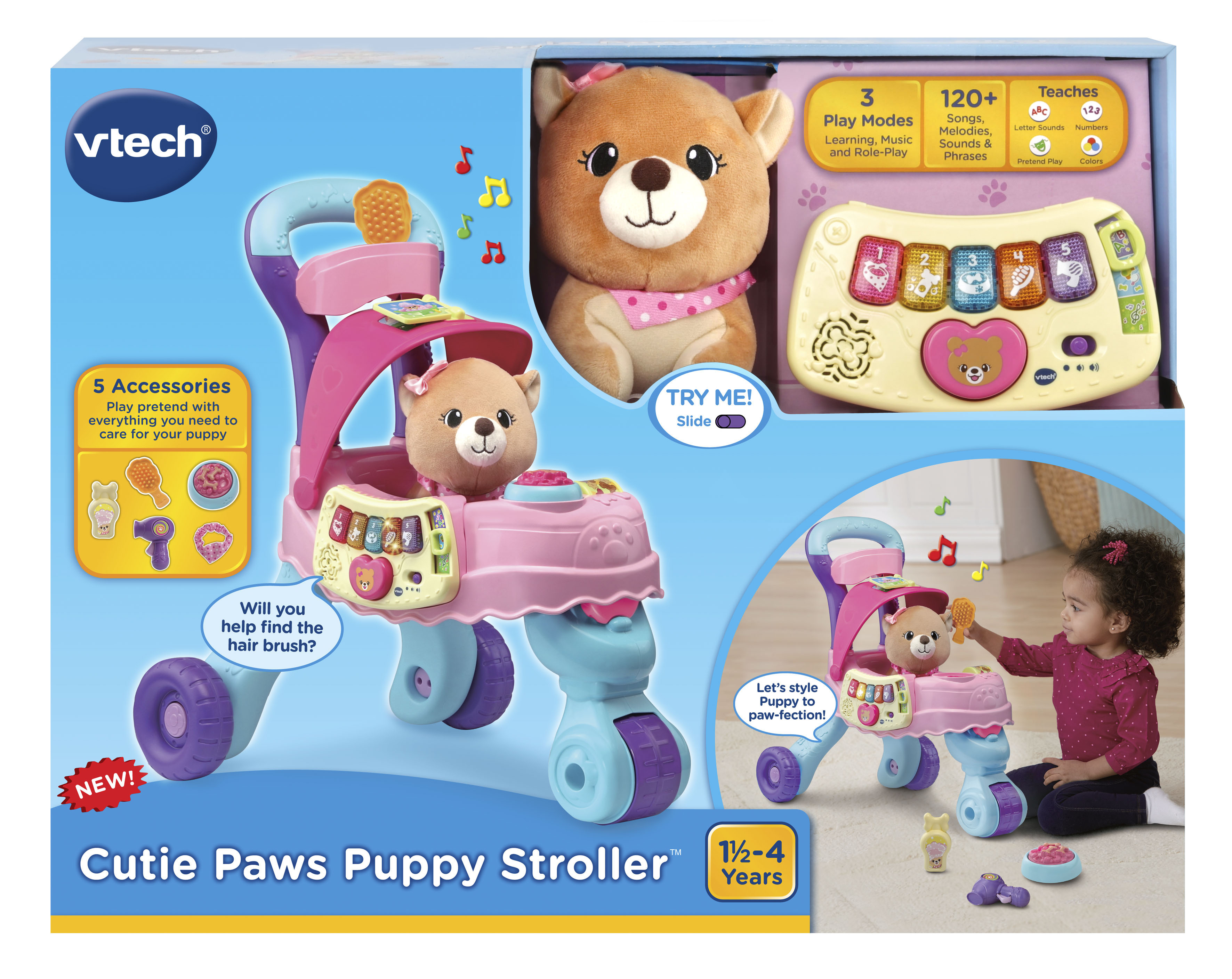 Vtech Cutie Paws Puppy Stroller With Plush Puppy And Accessories