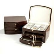 Bey-Berk International BB594EBN Lacquered Ebony Zebra Wood Jewelry Box