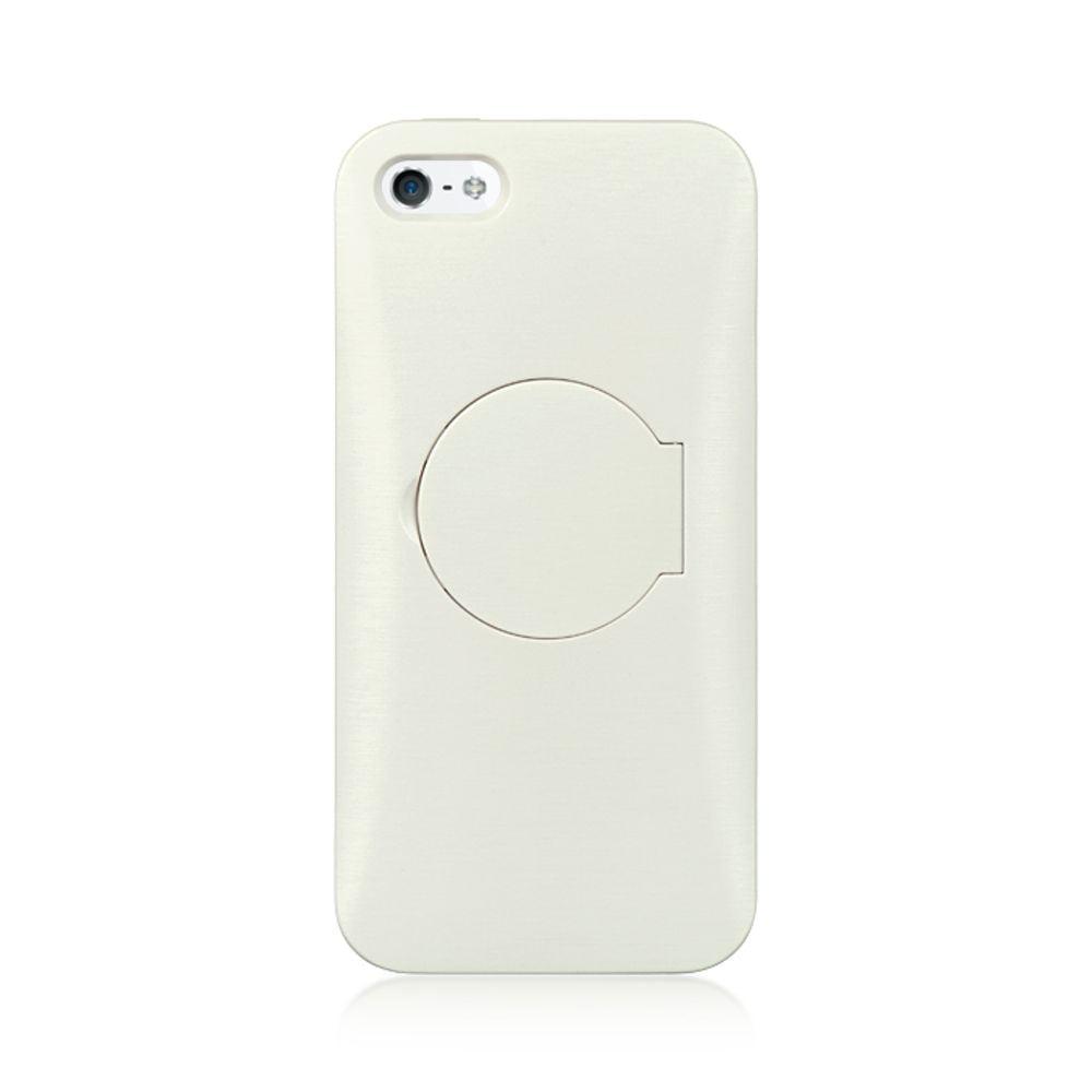 Insten Flip Mirror Stand Card TPU Rubber Gel Skin Back Case For Apple iPhone 5 / 5S - White - image 2 de 3