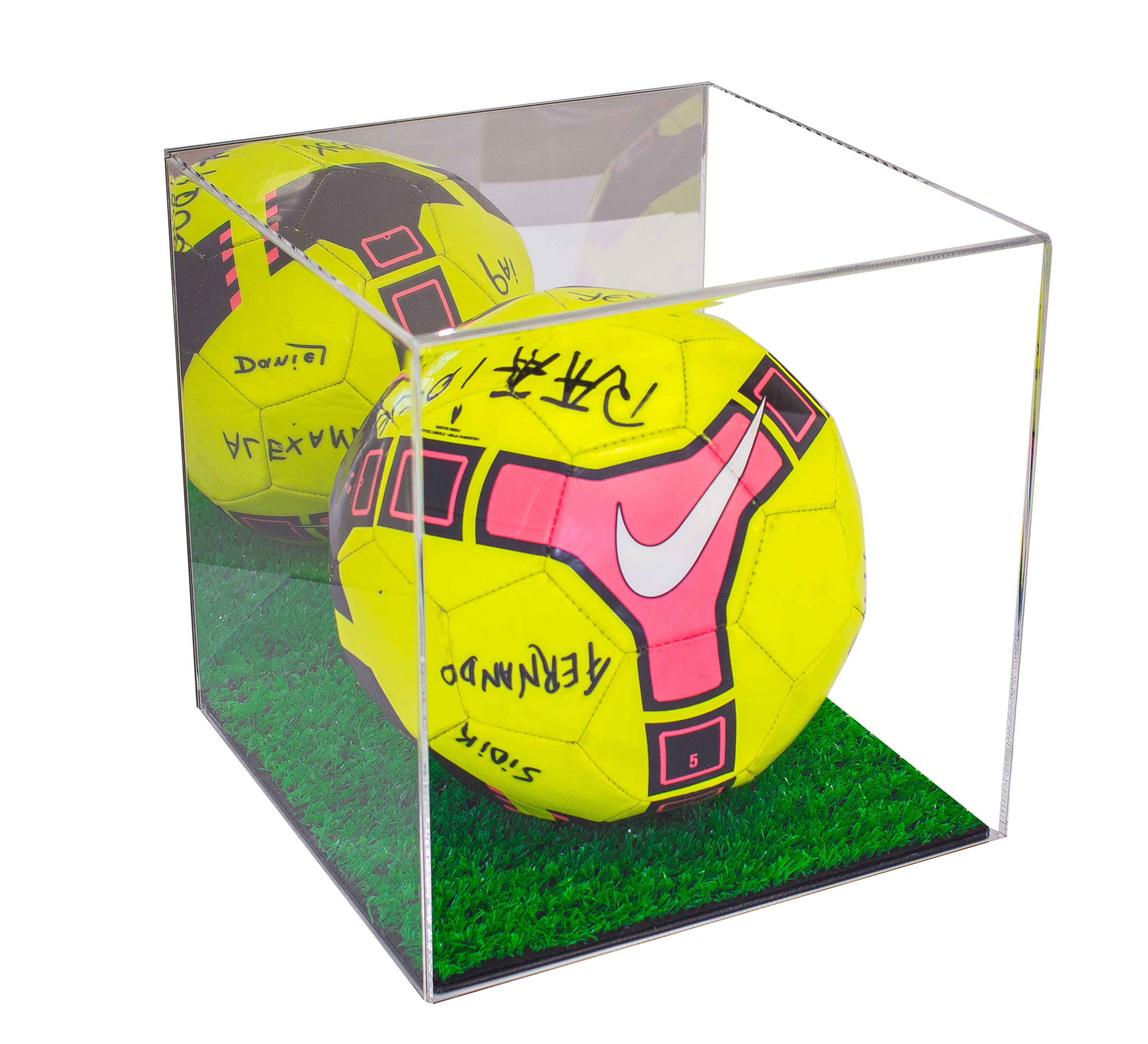 Deluxe Acrylic Full Size Soccer Ball Display Case with Turf Bottom