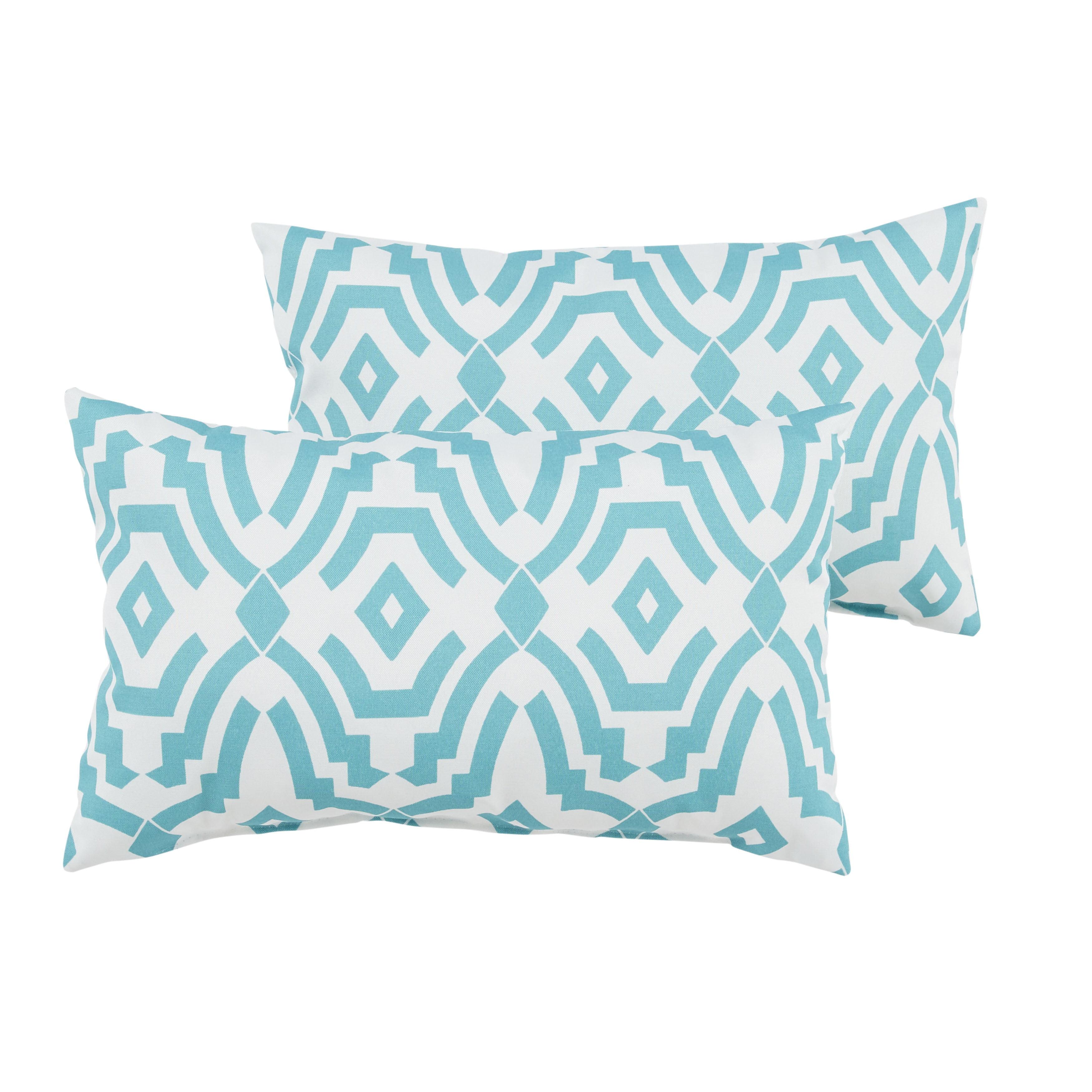 MOZAIC COMPANY Callaway II Aqua Geometric Indoor/ Outdoor 13 x 20 Inch Knife Edge Pillow Set