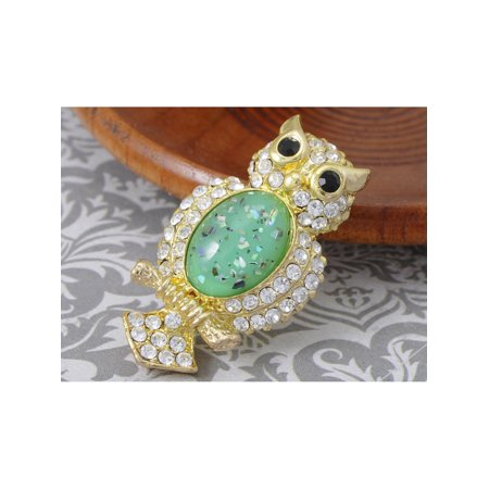 Crystal Elements Large Green Shimmer Stone Owl Bird Fashion Pin Brooch (Owl Pin)