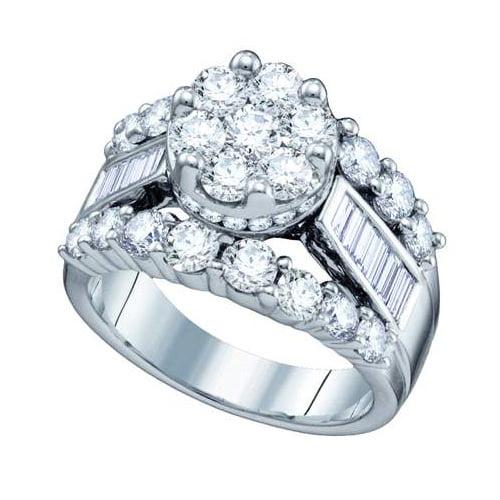 14K White Gold 2.0ctw Elegant Channel Set Diamond Flower Wedding Bridal Ring