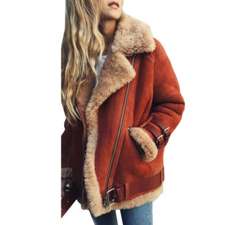 Womens Fleece Fur Biker Aviator Jacket Coat Winter Warm Lapel Outwear Plus