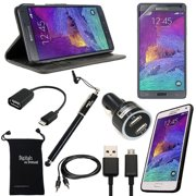 Galaxy Note 4 Case, DigitalsOnDemand ® 9-Item Accessory Kit for Samsung Note 4 - Wallet Leather Case, TPU Cover, Screen Protector, Touch Stylus, USB Cable, Dual Car Charger, 2.0 OTG, AUX, Travel Bag