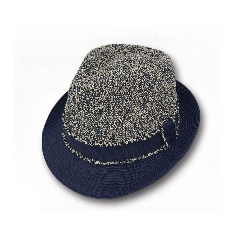 Sun Styles Melina Women s Organic Raffia-Cotton Fabric Trilby Fedora Hat  Navy b59f080eb22