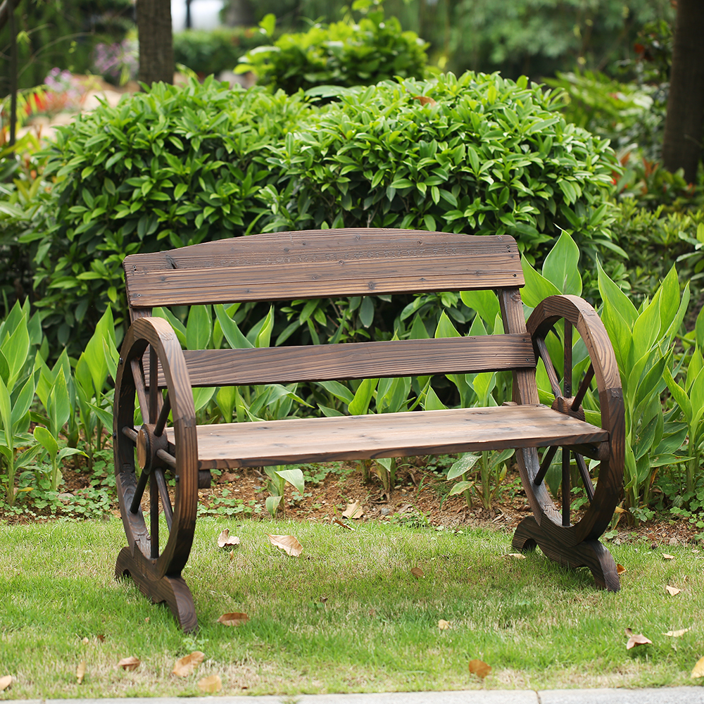Garden Furniture 2 Seater ikayaa 2 seater outdoor wood bench w/ backrest rustic wagon wheel