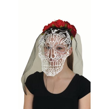 Day of the Day Red Glitter Roses Headband Veil Skull Gems Costume Accessory ()