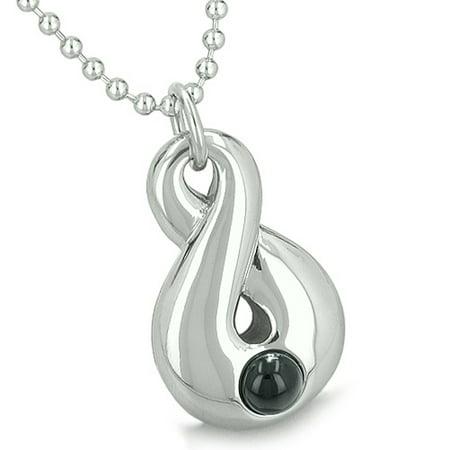 Amulet Infinity Magic Symbol Eternity Powers Simulated Black Onyx Pendant 18 Inch Necklace Black Onyx Gemstone Pendant