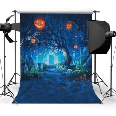 Halloween Wall Backdrops (5x7FT Vinyl Halloween Decor Pumpkin Light Wall Photography Studio Backdrop Background Wall Decoration)