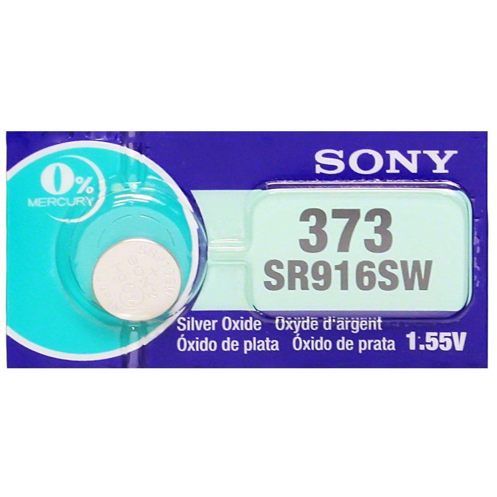 Sony 373 (SR916SW) 1.55V Silver Oxide 0%Hg Mercury Free Watch Battery (2 Batteries)