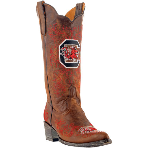 """Gameday Womens 13"""" Brass Leather University Of S Carolina Cowboy Boots Size 10 by GameDay Boots"""