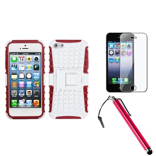 Insten Rubberized White/Red Advanced Armor Stand Case For iPhone SE 5 / 5s + Stylus + Protector
