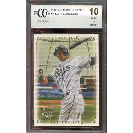 2008 ud masterpieces #7 EVAN LONGORIA tampa bay rays rookie card BGS BCCG 10