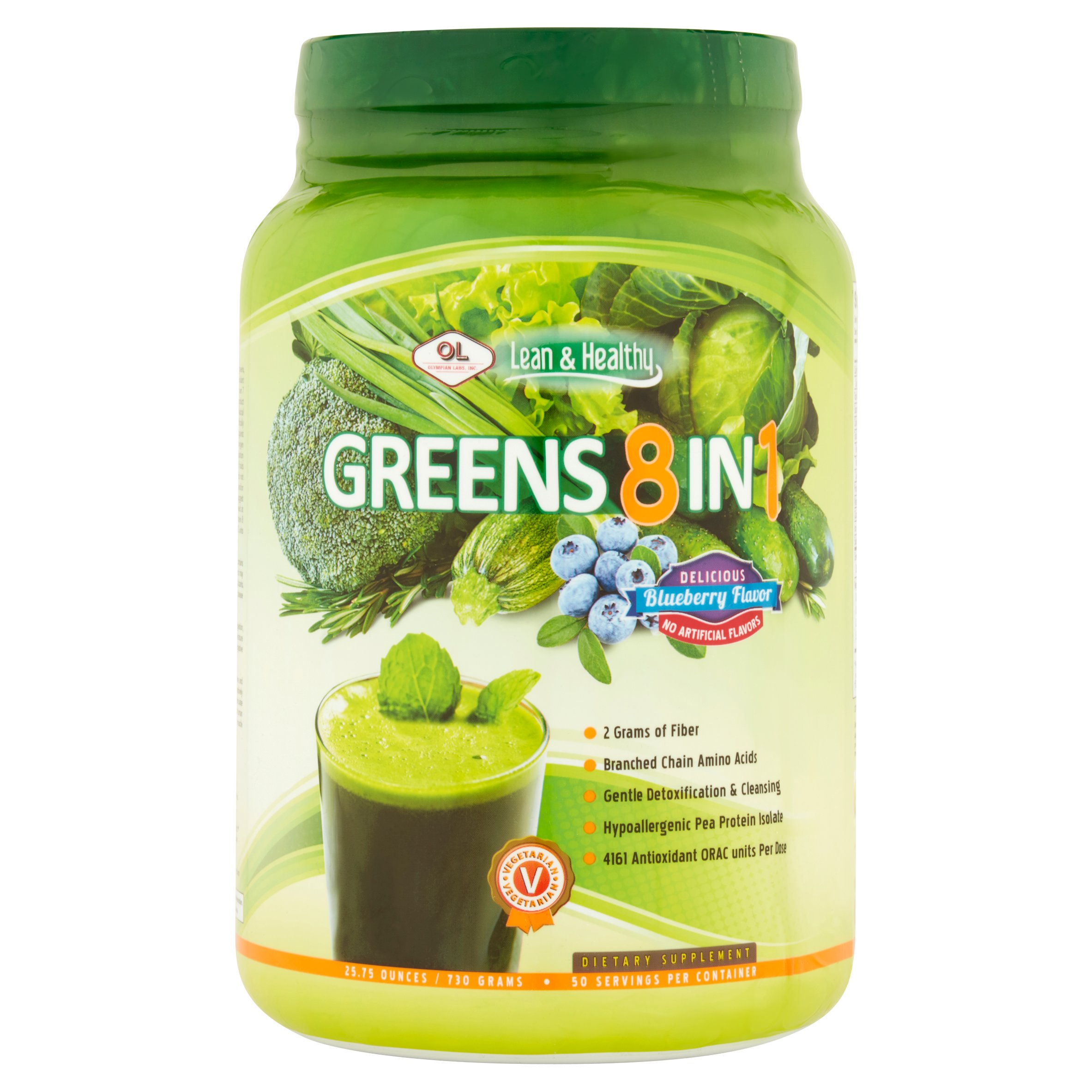 Olympian Labs Greens 8 in 1 Blueberry Dietary Supplement Powder, 25.75 oz