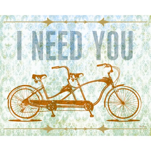 Wheatpaste Art Collective I Need You - Tandem Bike by Fancy That Design House and Co. Framed Graphic Art on Wrapped Canvas