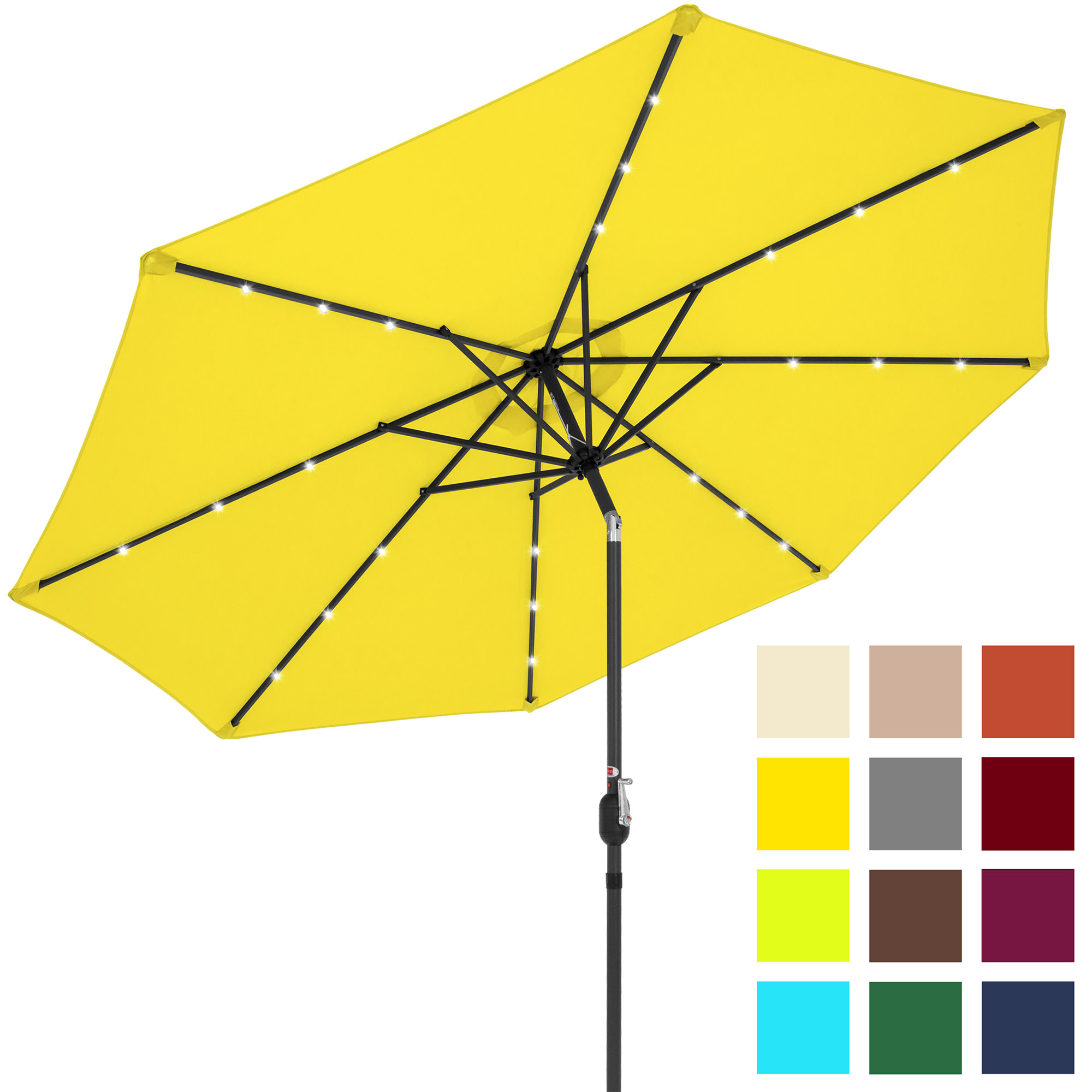 Best Choice Products 10' Solar LED Tilt Patio Umbrella, Brown