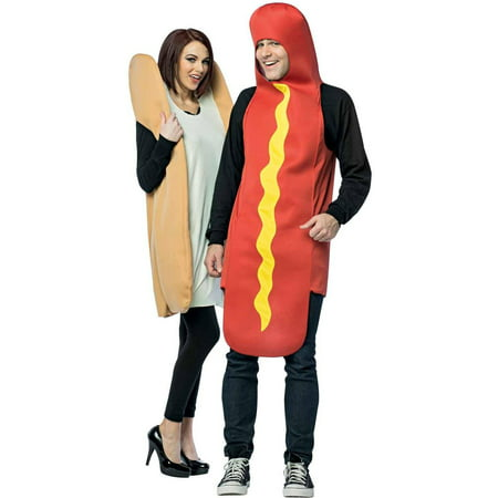 Hot Dog and Bun Couples Halloween Costumes](Last Minute Homemade Halloween Costumes For Couples)