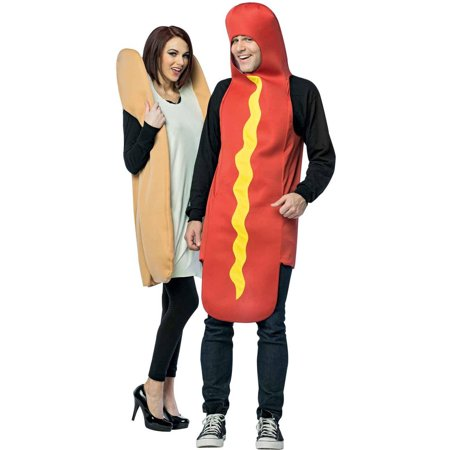 Hot Dog and Bun Couples Halloween Costumes - Funny Last Minute Couples Halloween Costumes