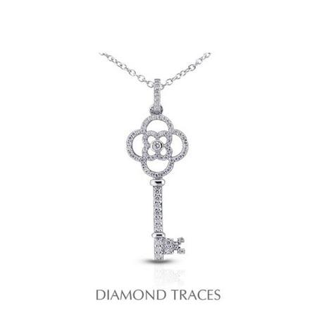 Diamond Traces UD-OS2977-4820 0.63 Carat Total Natural Diamonds 18K White Gold Pave Setting Key Fashion Pendant - image 1 of 1