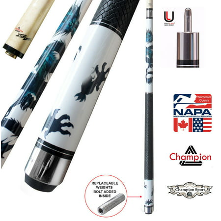 Champion White Dragon Pool Cue Stick with Predator Uniloc Joint, Low Deflection Shaft (18 oz, 11.75 mm, Tiger tip)