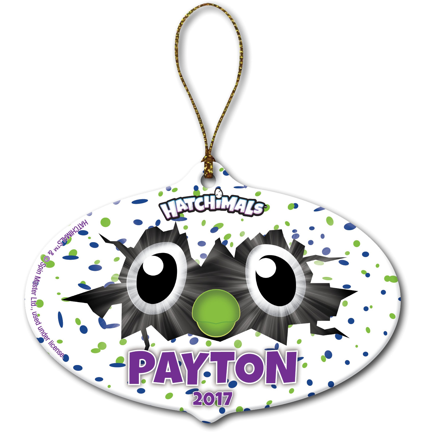 Personalized Hatchimals Oval Eyes Christmas Ornament