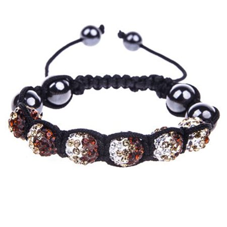 Bodyj4you Disco Ball Bracelet 6 Clear Brown Beads Pave Crystals Adjule Wrist Iced Out Jewelry