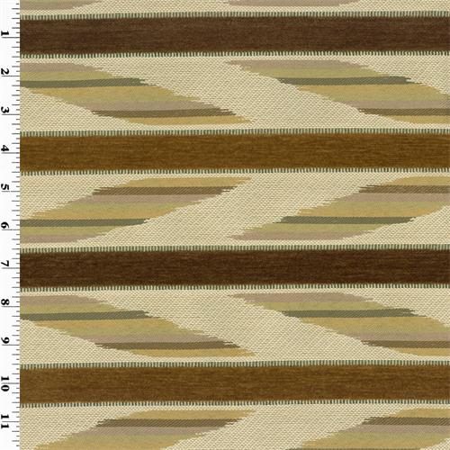 Brown/Beige Geometric Stripe Home Decorating Fabric, Fabric By the Yard