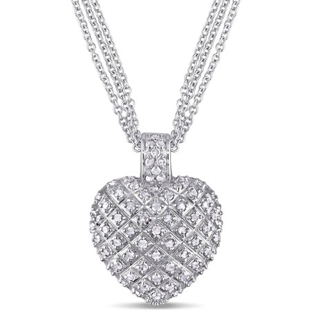 Miabella 1 carat tw diamond sterling silver heart pendant with 3 miabella 1 carat tw diamond sterling silver heart pendant with 3 strand chain 18 aloadofball Images