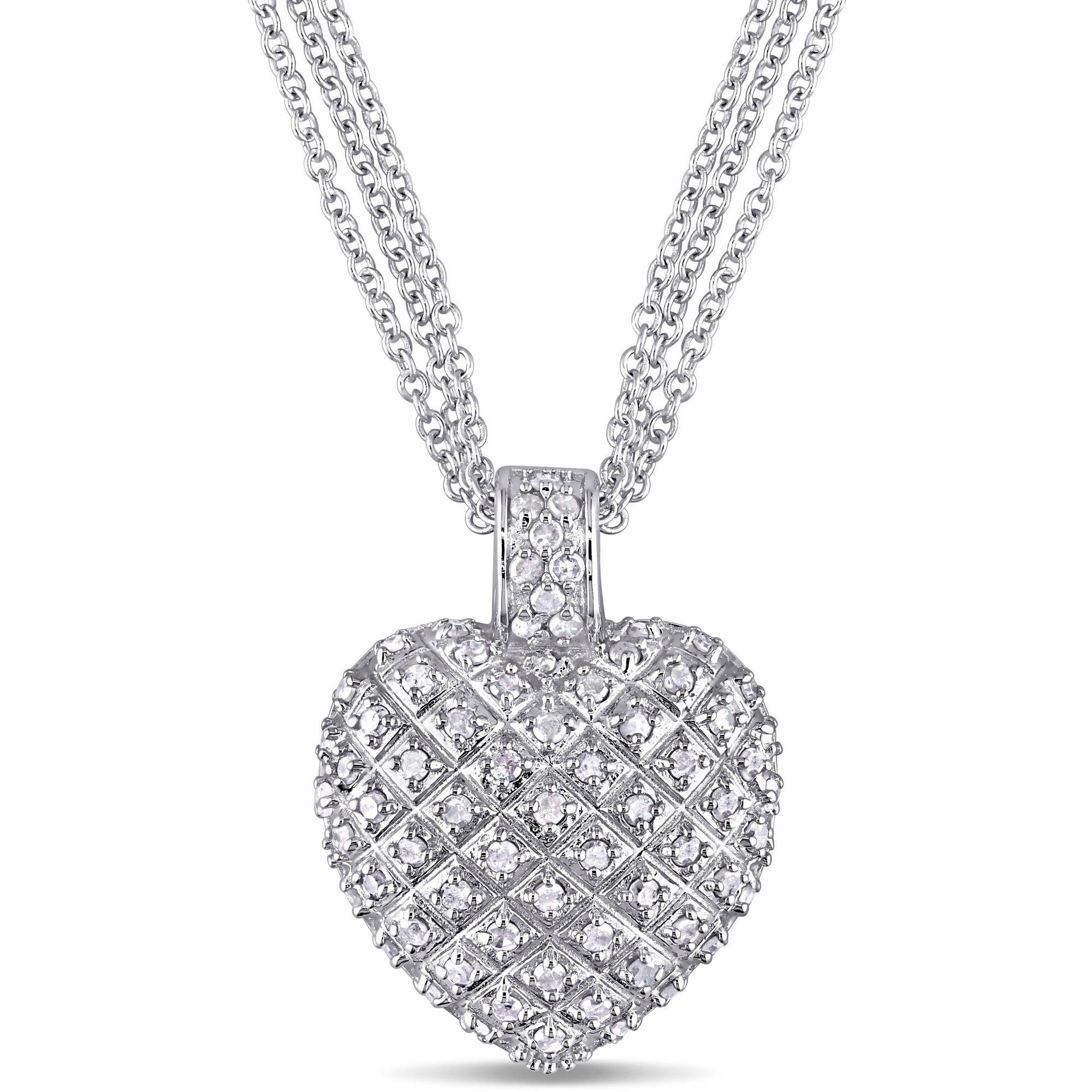 Miabella 1 Carat T.W. Diamond Sterling Silver Heart Pendant with 3-Strand Chain, 18""