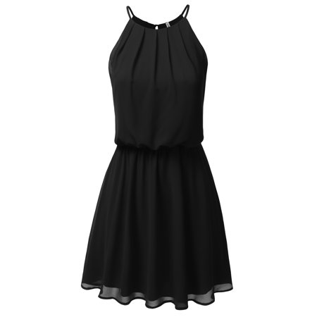 Doublju Women's Pleated Sleeveless Little Cocktail Party Dress Double-Layered Dress BLACK S