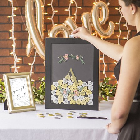Cathy's Concepts Personalized Floral Heart Drop Black Guestbook