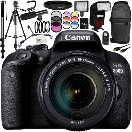 Canon EOS 800D DSLR Camera with 18-135mm Lens 17PC Accessory Bundle –  Includes 32GB SD Memory Card + 3PC Filter Kit (UV + CPL + FLD) + MORE -